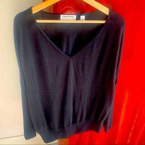 Country road merino wool v neck knit in black xs
